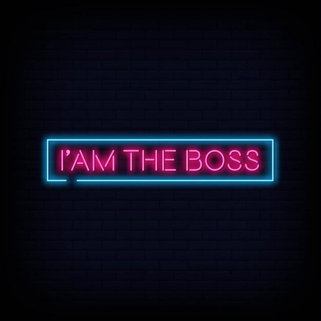 Я босс неоновая вывеска текст вектор Premium векторы
