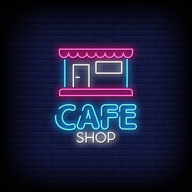Кафе магазин неоновых вывесок стиль текст Premium векторы