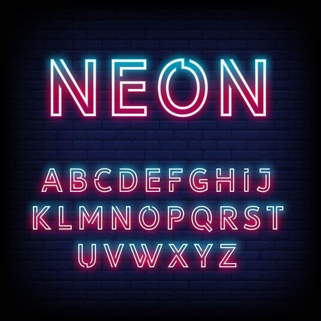 Неоновый свет алфавит Premium векторы