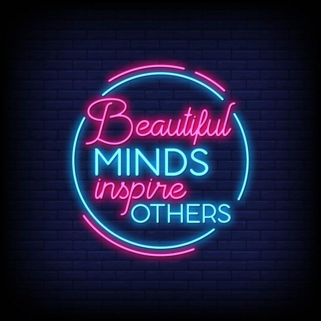 美しい心は他の人にネオンサインのテキストを刺激します Premiumベクター
