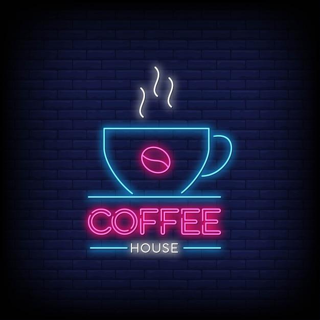 Кофейня в стиле неоновых вывесок Premium векторы