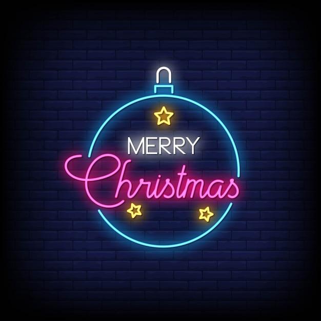 メリークリスマスネオンサインスタイルテキストベクトル Premiumベクター