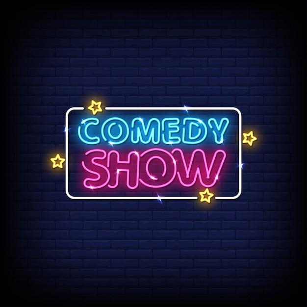 コメディショーのネオンサインスタイルテキストベクトル Premiumベクター