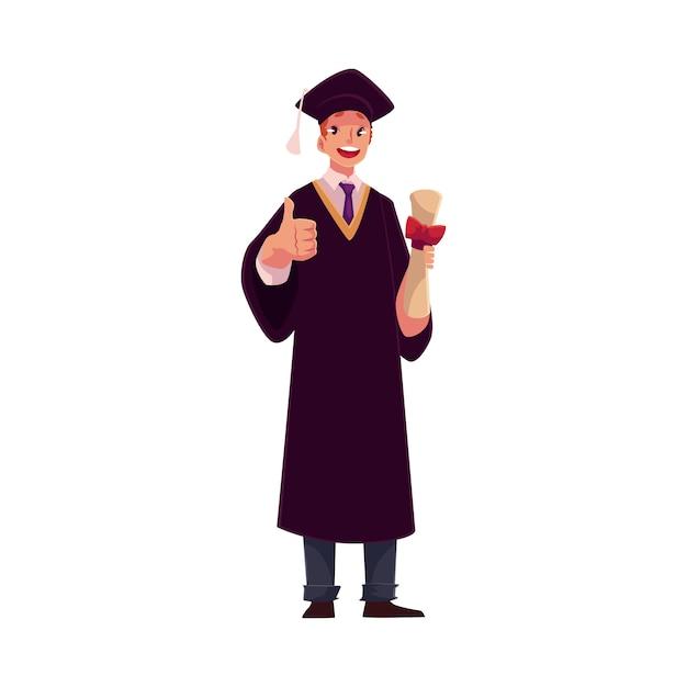 Студент в выпускном платье и кепке с дипломом Premium векторы