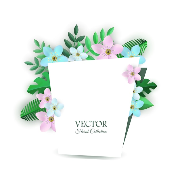 Векторная иллюстрация цветочные композиции с светлыми цветами и зелеными листьями внутри поздравления гар. Premium векторы