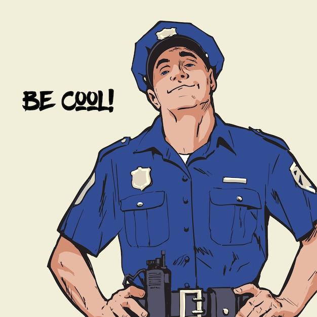 制服を着た警官。青い形自信を持って警官。青い制服を着た自信を持って男。帽子の男。幸せな警官。強い性格犯罪者を捕まえます。 Premiumベクター
