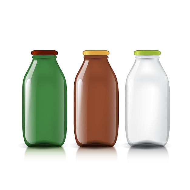 透明ボトルのセット Premiumベクター