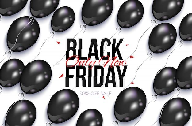 Черная пятница продажа баннер с воздушными шарами Premium векторы
