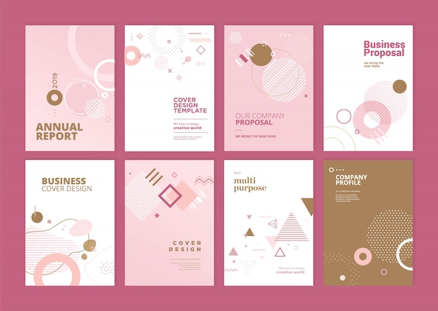 美容年次報告書の表紙のテンプレートデザインセット Premiumベクター