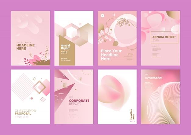 Набор шаблонов дизайна обложки годовой отчет красоты Premium векторы