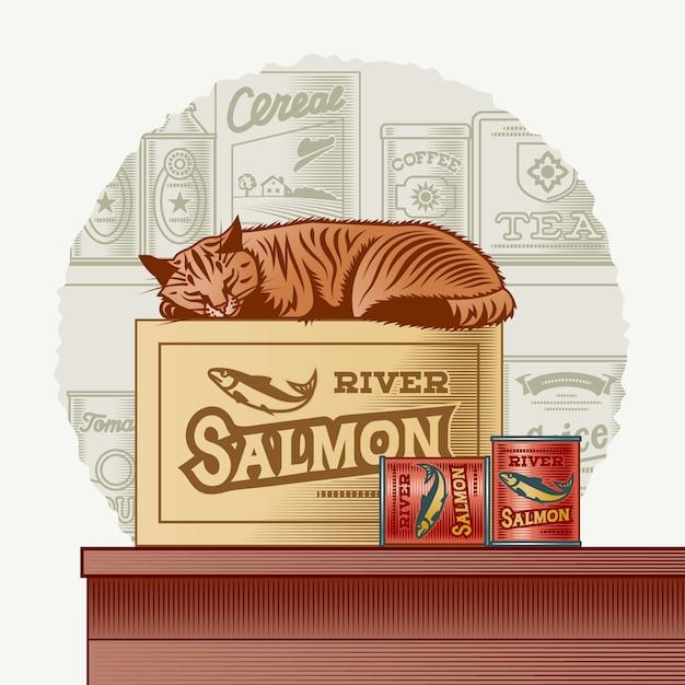 レトロな魚の缶詰と眠っている猫 Premiumベクター