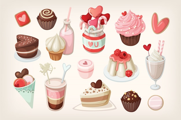 День святого валентина еда и десерты Premium векторы