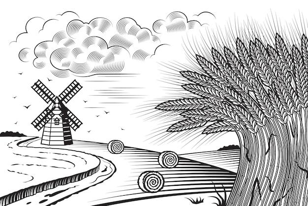 小麦畑の風景黒と白 Premiumベクター