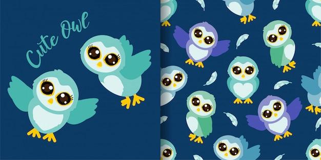 Симпатичные совы мультфильм животных бесшовные модели с набором карт иллюстрации Premium векторы
