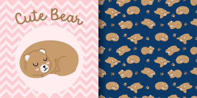 かわいいクマの顔動物赤ちゃんカードとのシームレスなパターン Premiumベクター