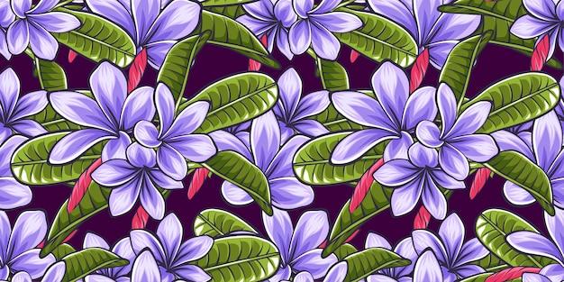 かわいい熱帯の花の葉のシームレスなパターンのテンプレートの背景 Premiumベクター