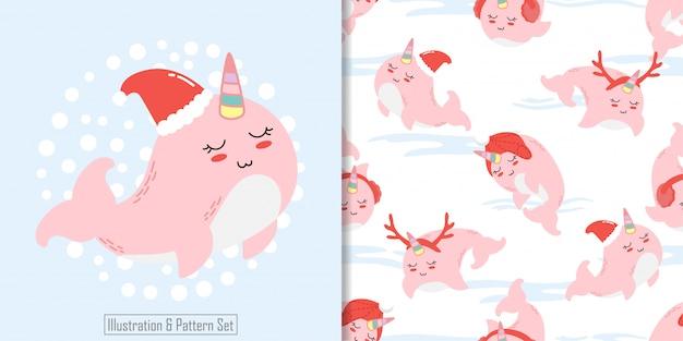 Рождественский бесшовный шаблон вырезать кита зима Premium векторы
