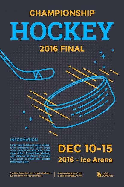 Плакат чемпионата по хоккею. векторные линии иллюстрации клюшка и шайба. Premium векторы