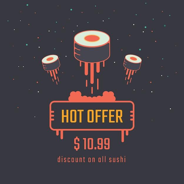 巻き寿司販売バナー Premiumベクター