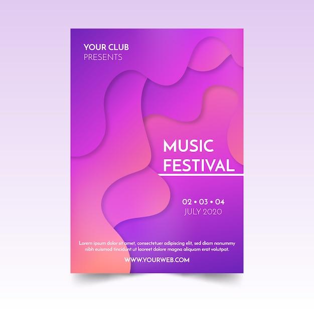 抽象的な流体音楽ポスター 無料ベクター
