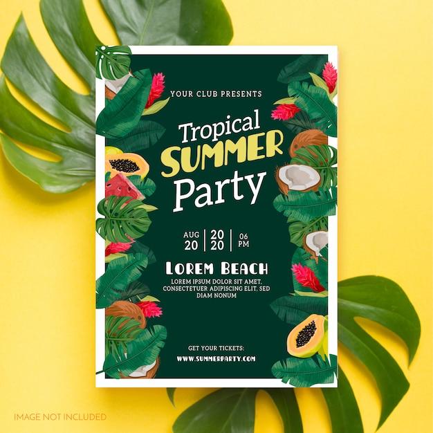 熱帯の夏のパーティーポスター 無料ベクター