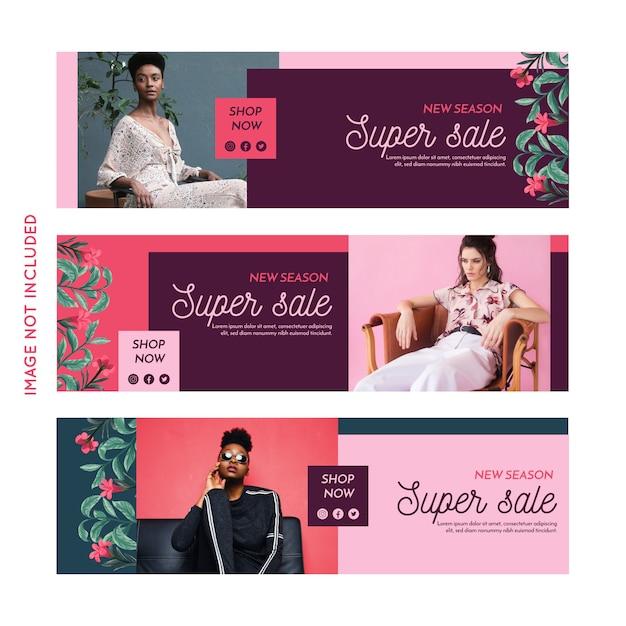 Рекламная коллекция модных баннеров Бесплатные векторы