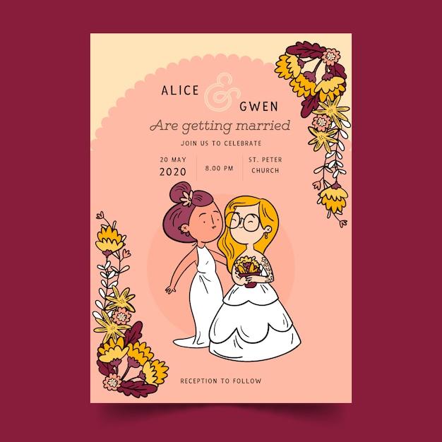 Свадебные приглашения с парой мультфильмов Бесплатные векторы
