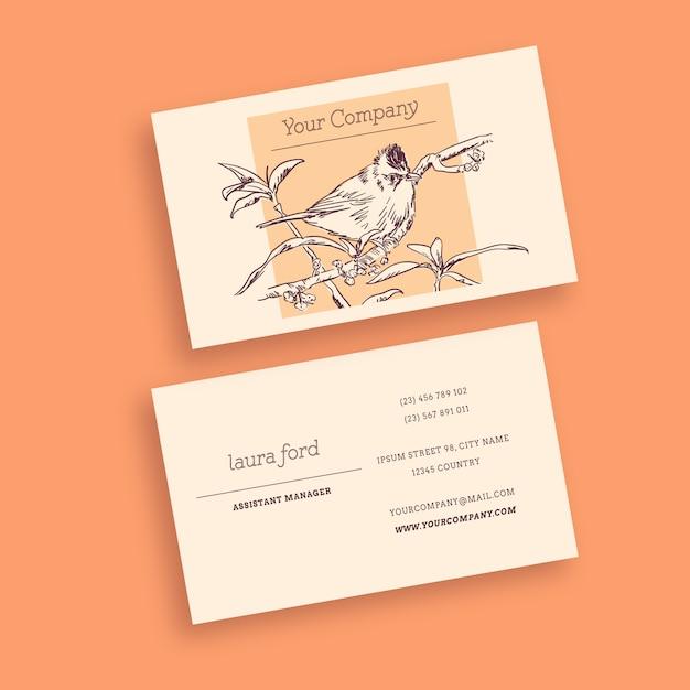 鳥ビンテージ名刺 無料ベクター