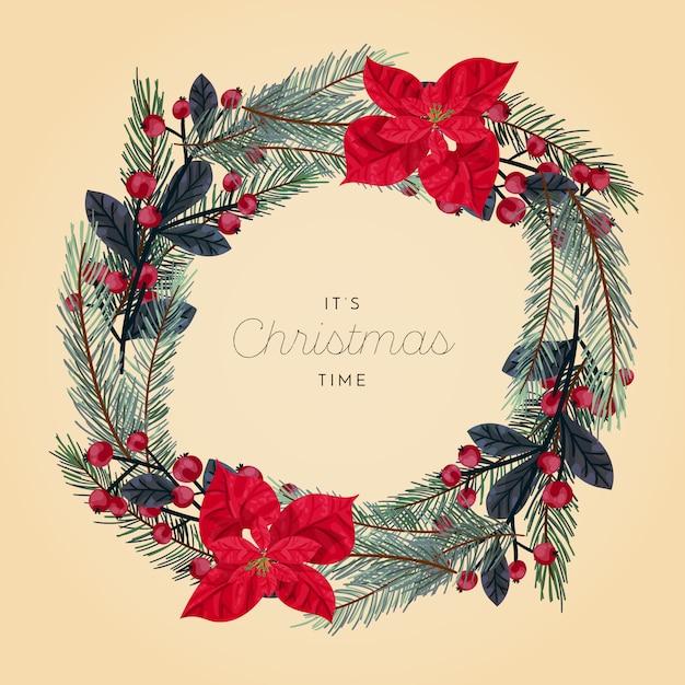 クリスマスリース 無料ベクター