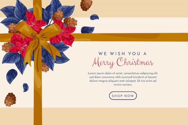 ゴールデンリボンとクリスマスバナー 無料ベクター