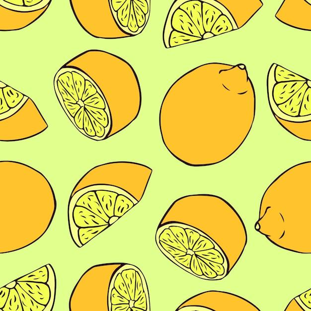 レモンとのシームレスなパターン。壁紙、パターンの塗りつぶしのベクトルシームレステクスチャ Premiumベクター