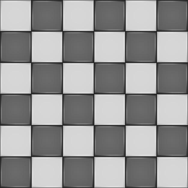 黒と白のセラミックタイル。バスルームの壁または床のシームレスパターン Premiumベクター