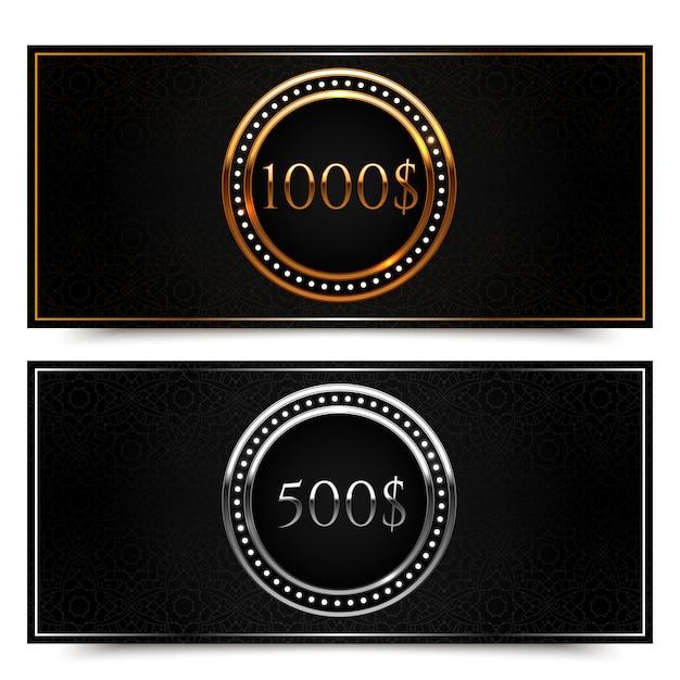 Подарочный сертификат на золото и серебро Premium векторы