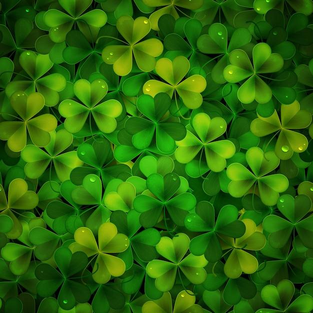 Фон с зелеными реалистичными листьями трилистника Premium векторы