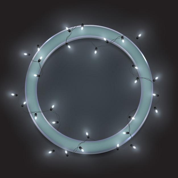 Серебряная ретро неоновая круглая рамка, блестящие светодиодные гирлянды Premium векторы