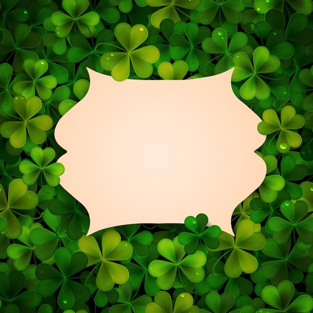 聖パトリックの日の背景、現実的なシャムロックの葉とフレーム、招待状 Premiumベクター
