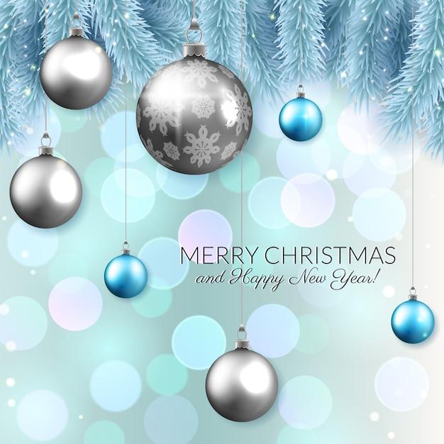 クリスマスベクトルカードデザイン、光沢のあるつまらないとモミの枝 Premiumベクター
