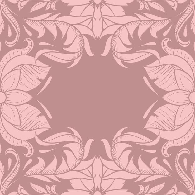 Ретро цветочный дизайн рамы, винтажный орнамент, двадцатые годы, иллюстрация Premium векторы