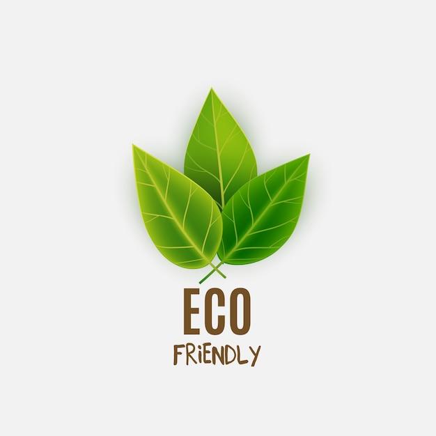 緑の葉が付いている環境に優しいロゴ Premiumベクター