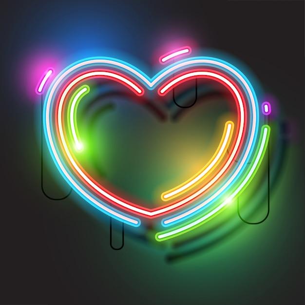 Сердце неоновое знамя Premium векторы
