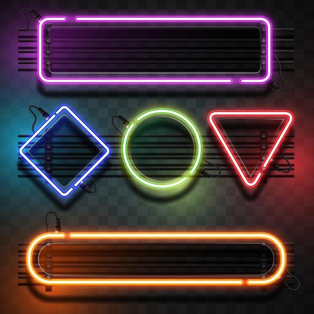 幾何学的形状のコレクションを持つライト 無料ベクター