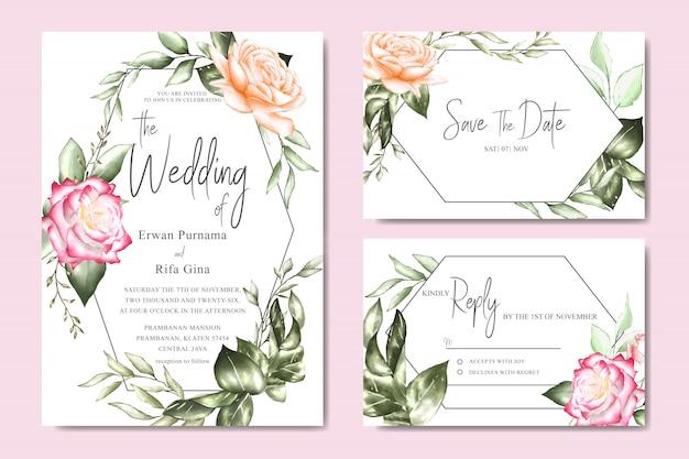 水彩花と葉の結婚式の招待カードテンプレート Premiumベクター
