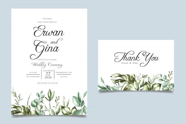 Свадебные приглашения шаблон с акварелью цветочные и листья Premium векторы