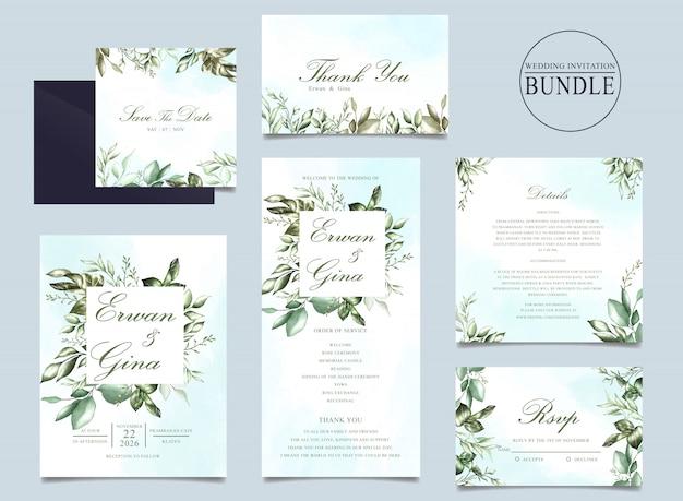結婚式の招待カードの束と緑の葉のテンプレート Premiumベクター
