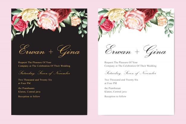水彩の結婚式の招待状のテンプレート Premiumベクター