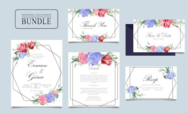 Свадебная пригласительная открытка с акварелью цветочные и листья шаблон Premium векторы