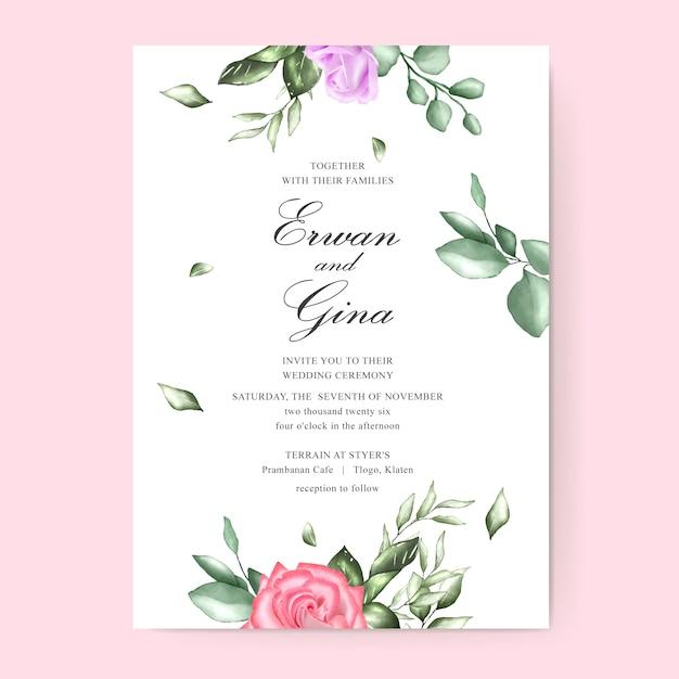 Акварель цветочные свадебные приглашения шаблон дизайн карты Premium векторы