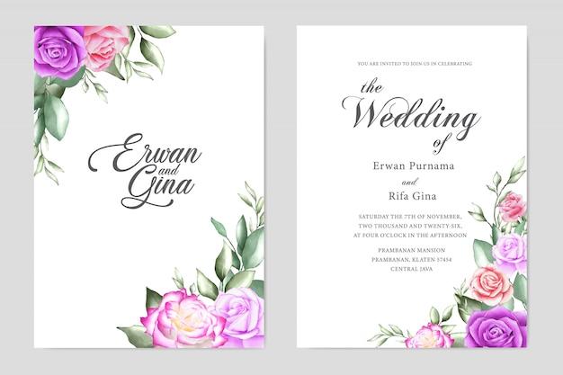花の結婚式の招待状のテンプレートカードのデザイン Premiumベクター