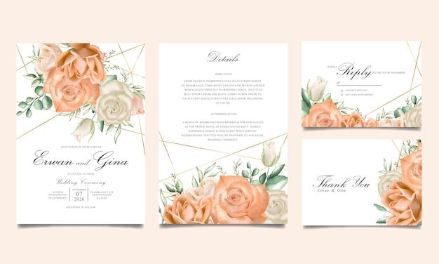 水彩花結婚式招待状テンプレートカードのデザイン Premiumベクター