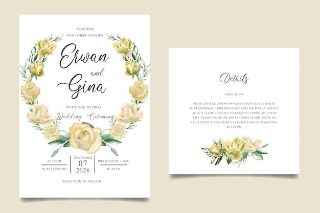 水彩花と葉の結婚式招待状テンプレートカードのデザイン Premiumベクター